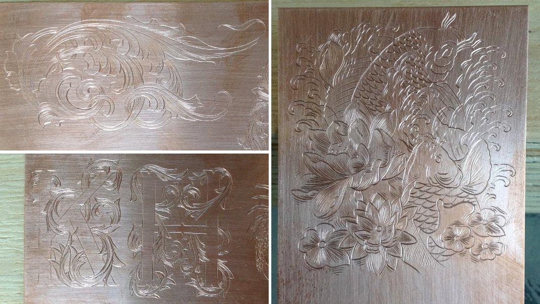 13_ujo_rocks_hand_engraving_copper_koi_scrolls_initials