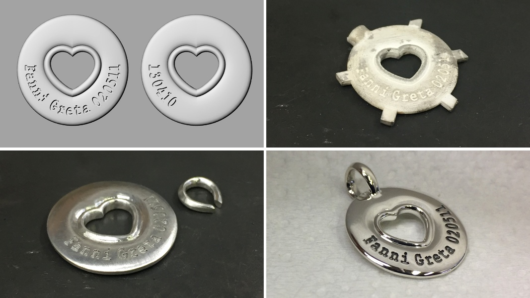 63_ujo_rocks_bespoke_engraved_sterling_silver_heart_pendant_polished_with_progress_pics_of_rendering_and_after_casting