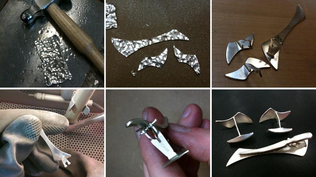 01_ujo_rocks_handmade_sterling_silver_tie_clip_cufflink_set_hammered_progress_pics