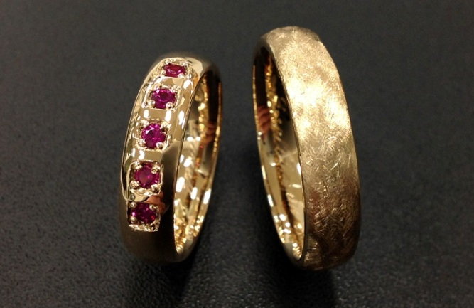 yellow gold ruby wedding ring