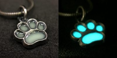 ujo_rocks_paw_pendant_aqua_glow_colours_in_daylight_and_in_darkness